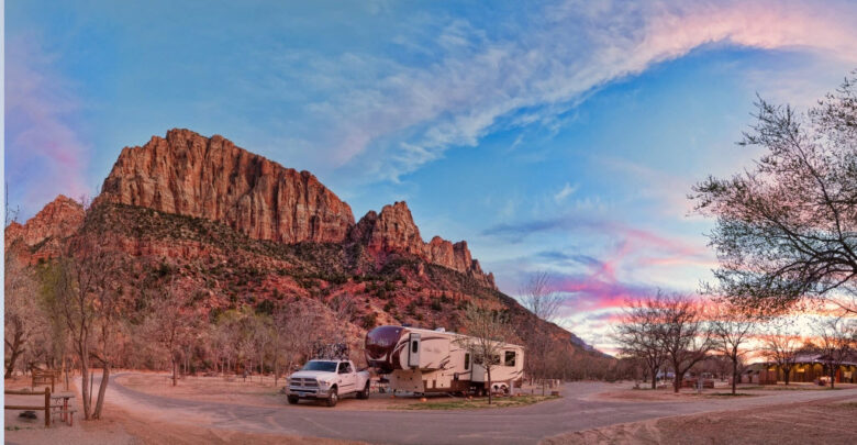 Image of fifth wheel by red rocks