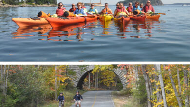 Image of people kayaking and biking in Maine