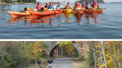 Image of people kayaking and biking in Maine