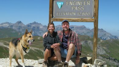Image of Jim Nelson, Rene Agredano and their motivation for hopping into the RV lifestyle, Jerry G. Dawg.